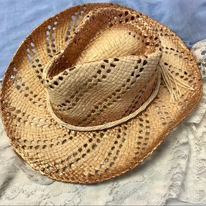 Accessories - Straw beach hat cowgirl hat with gold accents